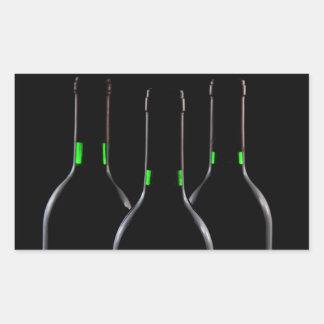 Pegatina rectangular del negro de las botellas de