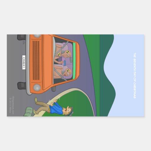 Pegatina rectangular del peligro del autostopista