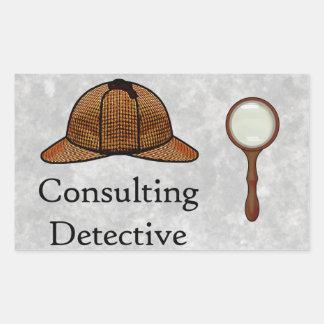 Pegatina rectangular detective asesor