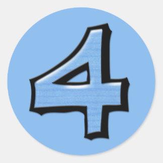 Pegatina redondo azul del número 4 tontos