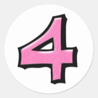 Pegatina redondo blanco rosado del número 4 tontos