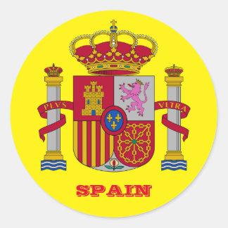 Pegatina redondo clásico brillante de España