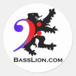 Pegatina redondo clásico de BassLion