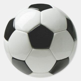 Pegatina redondo clásico del balón de fútbol