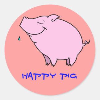 Pegatina redondo clásico del cerdo feliz