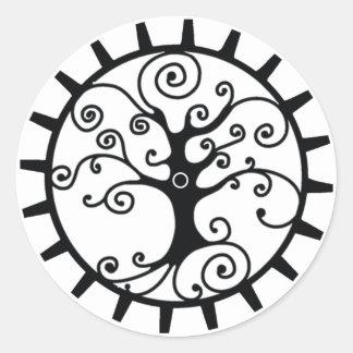 Pegatina redondo clásico del engranaje del árbol