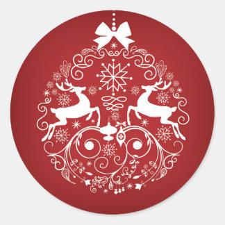Pegatina redondo clásico del navidad