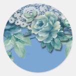 Pegatina redondo color de rosa azul elegante lamen