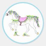 Pegatina redondo con el caballo del carrusel