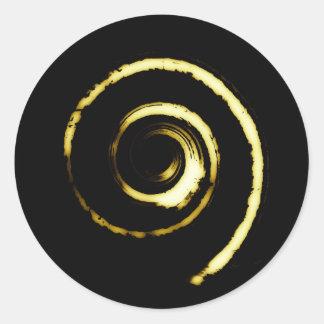 Pegatina redondo con giro amarillo