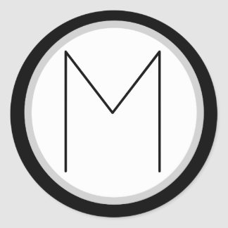 Pegatina redondo con monograma negro/blanco