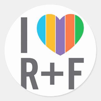 Pegatina redondo - corazón RF de I