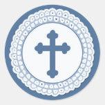 Pegatina redondo cruzado azul