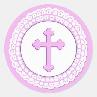Pegatina redondo cruzado rosado