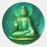 Pegatina redondo de Buda de la meditación verde de