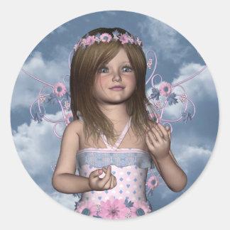 Pegatina redondo de Erica del ángel de hadas