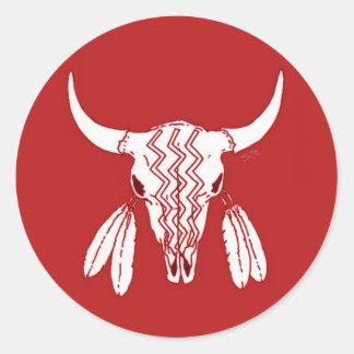 Pegatina redondo de fantasma del búfalo rojo de la