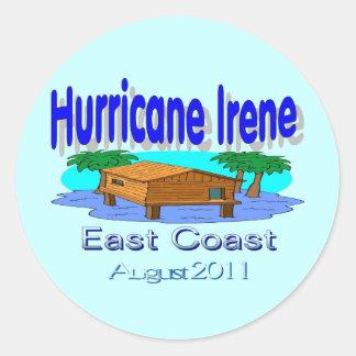 Pegatina redondo de Irene del huracán