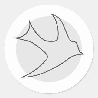 Pegatina redondo de Knightingales (gris)
