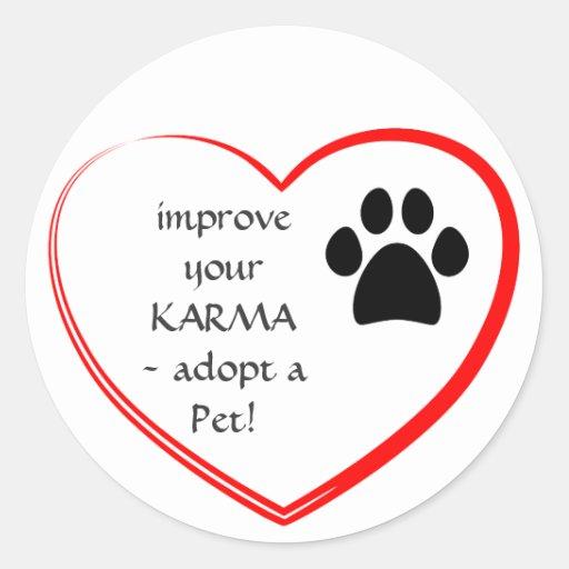 Pegatina redondo de la adopción del mascota