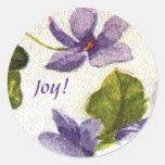 Pegatina redondo de la alegría de las violetas del
