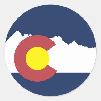 Pegatina redondo de la bandera de Colorado de la