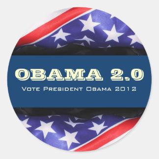 Pegatina redondo de la campaña 2012 de OBAMA 2,0