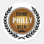 Pegatina redondo de la cerveza de Philly de la