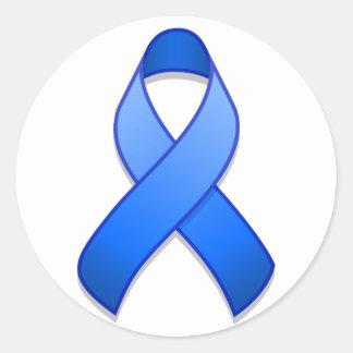 Pegatina redondo de la cinta azul de la conciencia