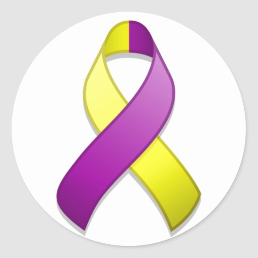 Pegatina redondo de la cinta púrpura y amarilla de