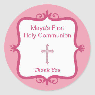 Pegatina redondo de la comunión cruzada rosada