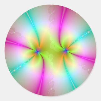 Pegatina redondo de la danza del color