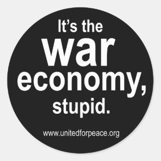 Pegatina redondo de la economía de la guerra