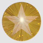 Pegatina redondo de la estrella del oro