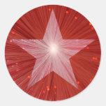 Pegatina redondo de la estrella roja