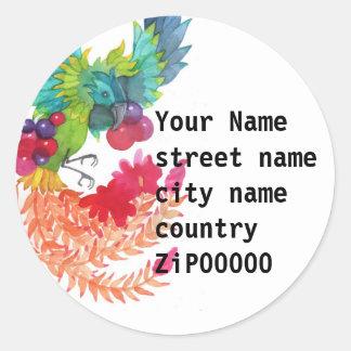 Pegatina redondo de la etiqueta de dirección del