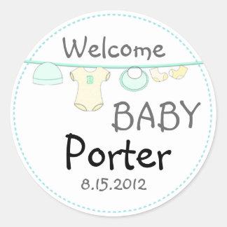 Pegatina redondo de la fiesta de bienvenida al beb