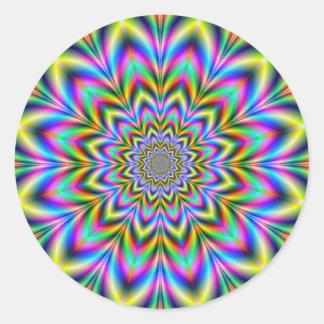 Pegatina redondo de la flor psicodélica