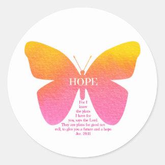 Pegatina redondo de la mariposa de la esperanza