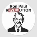 Pegatina redondo de la revolución de Ron Paul