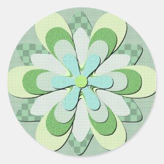 Pegatina redondo de la textura de la flor verde de