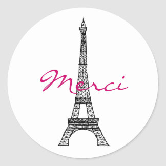 Pegatina redondo de la torre Eiffel
