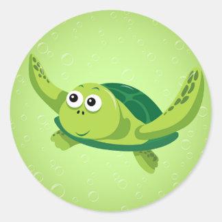 Pegatina redondo de la tortuga verde