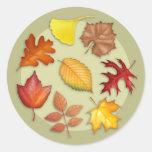 Pegatina redondo de las hojas de otoño