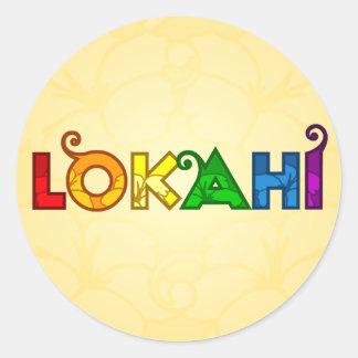 Pegatina redondo de Lokahi del arco iris