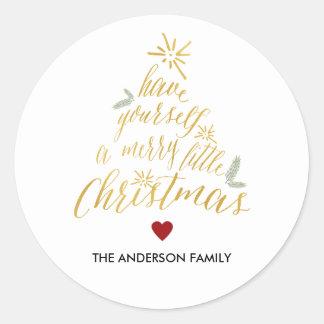 Pegatina redondo de los Felices pequeños Navidad