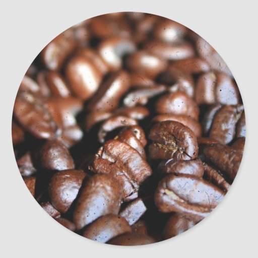 Pegatina redondo de los granos de café
