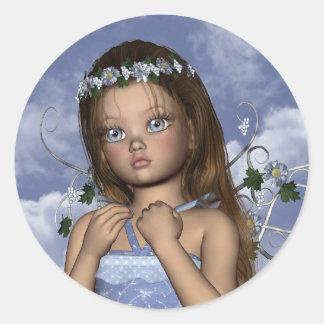 Pegatina redondo de Maddie del ángel de hadas