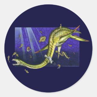 Pegatina redondo de Plesiosaur