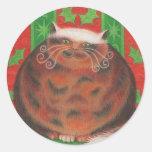 Pegatina redondo de Pud del navidad